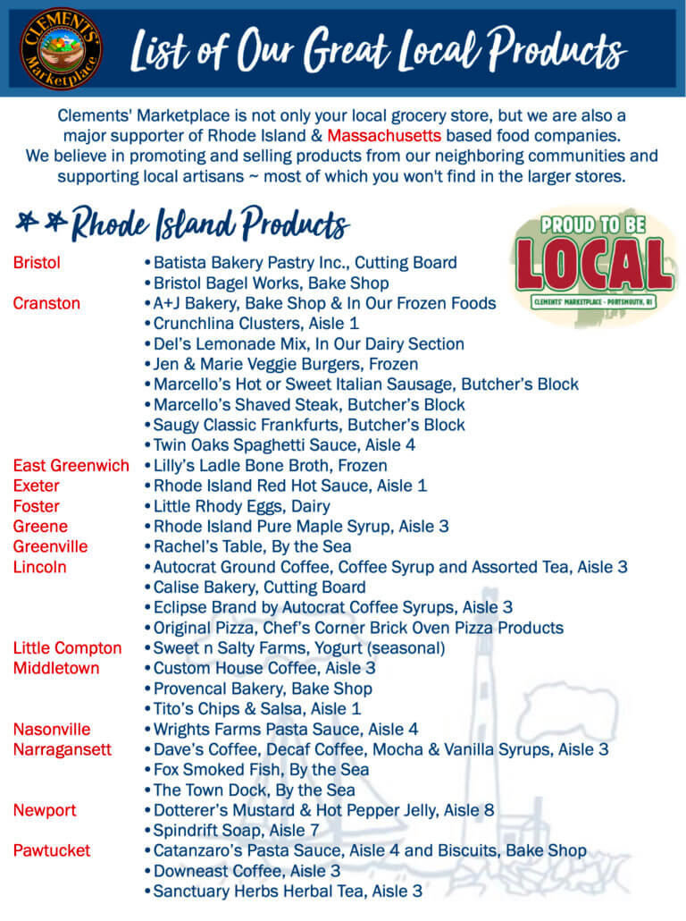Clements' Loves Local! Click the image above to view our local product list.